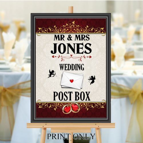 Personalised Wedding Money & Cards Post Box Sign Poster Banner - Print N200